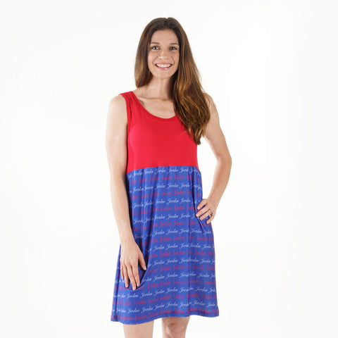Red Blue Name Jade Tank Dress