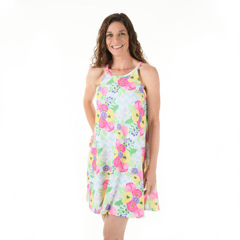 Chevron Floral Lilian Dress