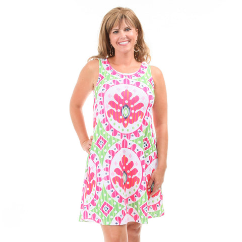 Ikat Rose Swing Dress