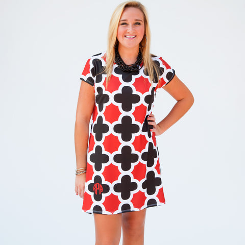 Black White Red Quatrefoil Willa Dress