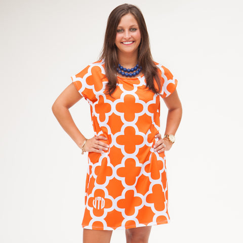 Orange White Quatrefoil Willa Dress