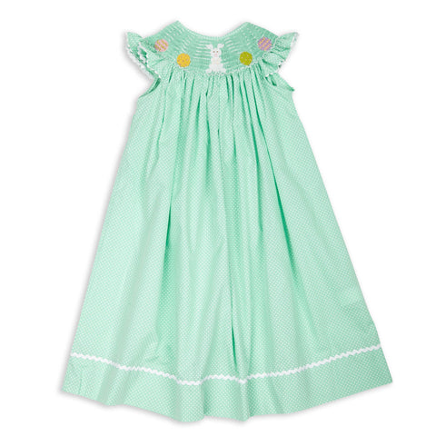 Baby Girls Mint Green Bunny Easter Eggs Smocked Dress