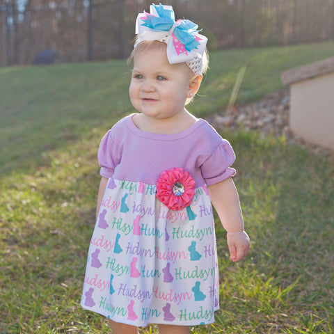 Lavender Bunny Name Dress