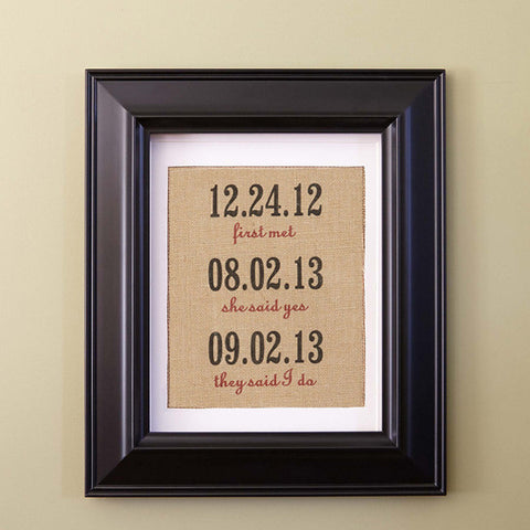 Burlap Couple's Firsts Print