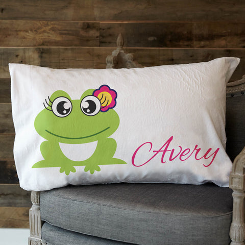 Minky Frog Name Pillowcase