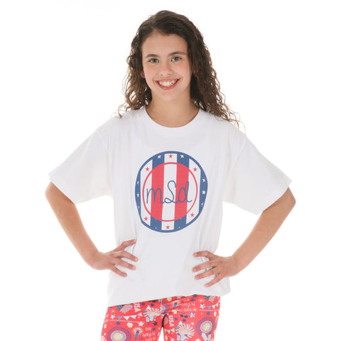 Stars and Stripes Circle Initial Tee