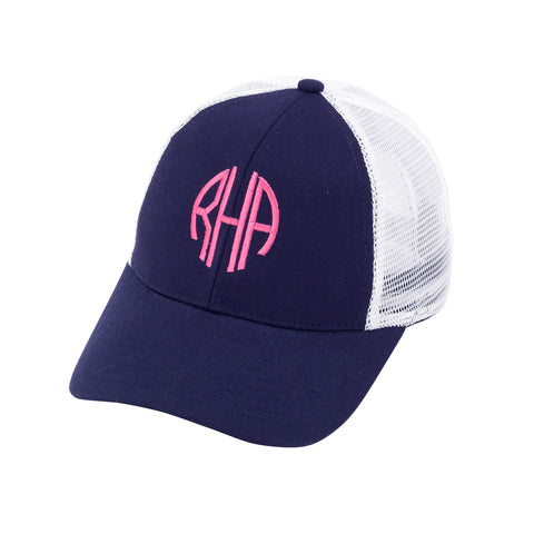 Navy Mesh Snap Back Initials Hat