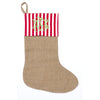 Red White Stripe Burlap Stocking