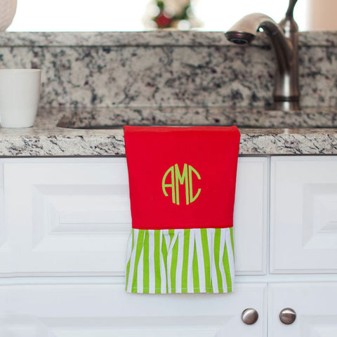 Red Green Stripe Hand Towel