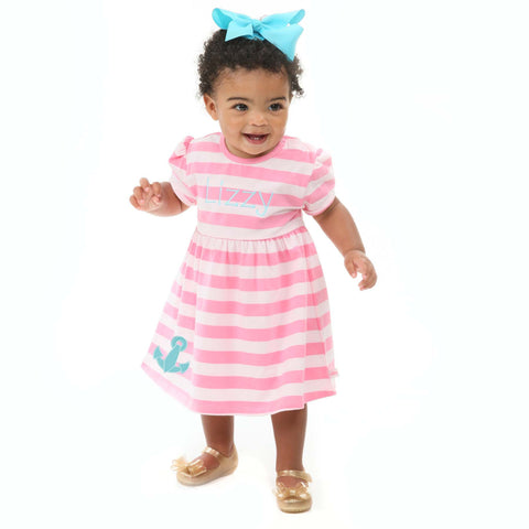 Hot Pink Stripe Dress with Bloomers