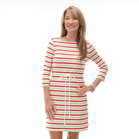 Christmas Stripe Tie Dress