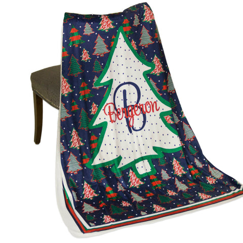 Whimsy Christmas Tree Name Initial Throw Blanket