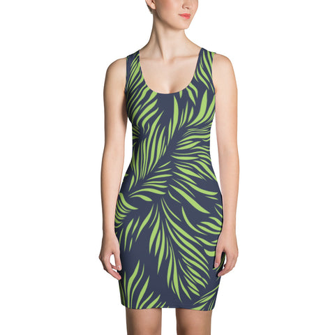 Navy Palm Dress