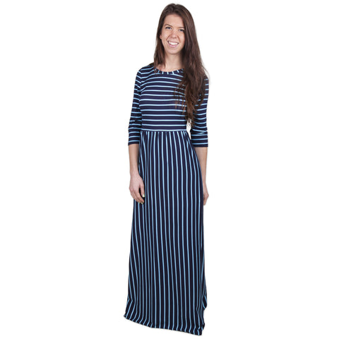Aqua Navy Stripe Maxi Dress