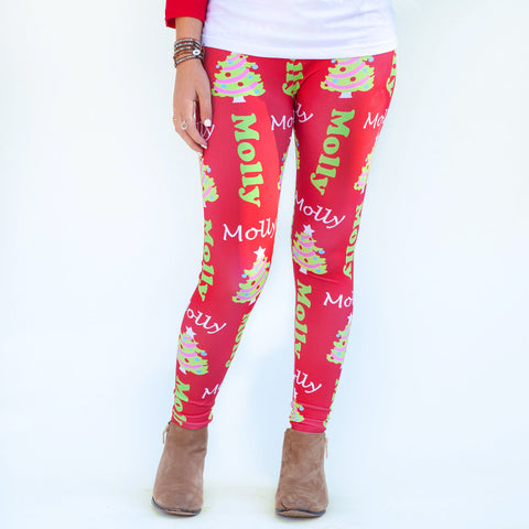 Ladies Red Christmas Tree Arden Leggings