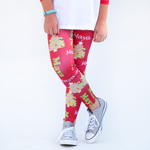 Girls Red Christmas Tree Arden Leggings