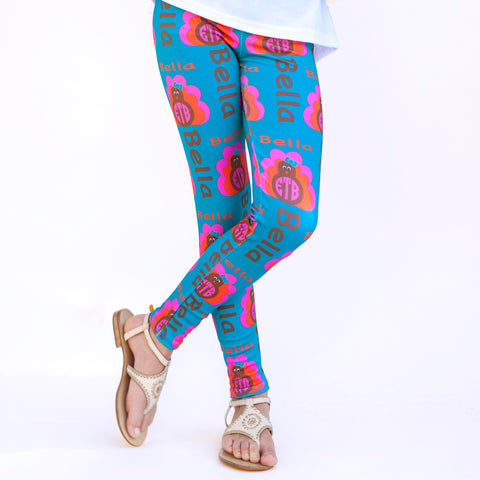 Girls Turkey Name & Initials Arden Leggings