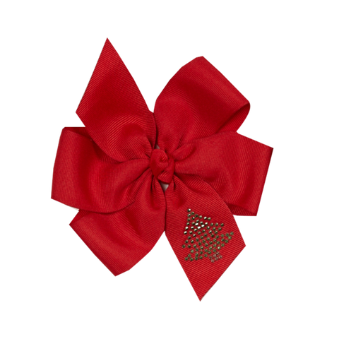 Red Christmas Tree Bling Double Loop Bow