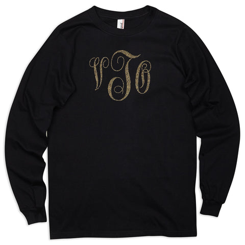 Ladies Black with Bronze Initials Tee