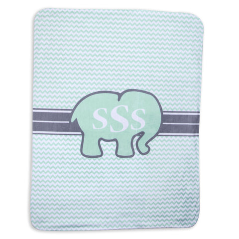 Mint Chevron Elephant Initial Blanket