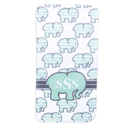 Mint Chevron Elephant Minky Burp Cloth