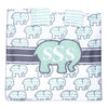 Mint Chevron Elephant Minky Initial Carseat Cover