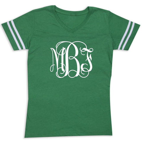 Green Football Initials Tee