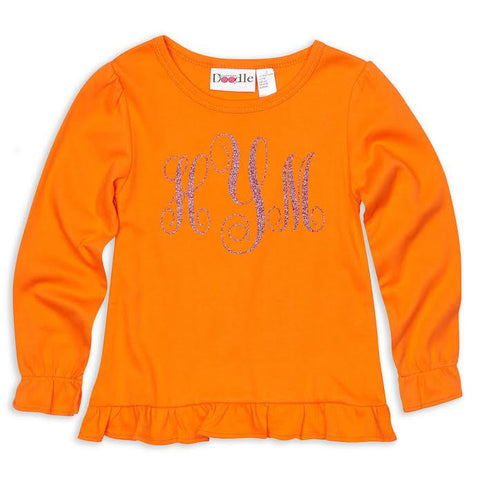 Orange Ruffle Initials Top