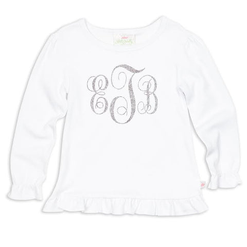 Girls White Ruffle Multi Color Silver Sparkle Initials Top