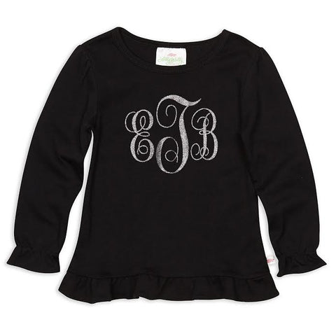 Girls Black Multi Color Silver Sparkle Initials Top
