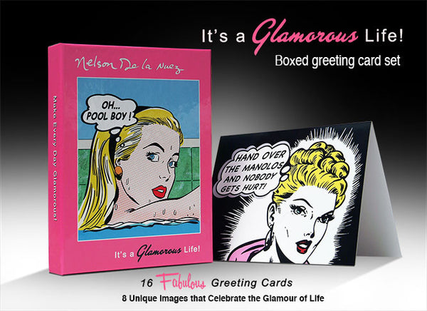 """It's a Glamorous Life!"" Boxed Greeting Card Set Nelson De La Nuez Art  FREE Shipping!"
