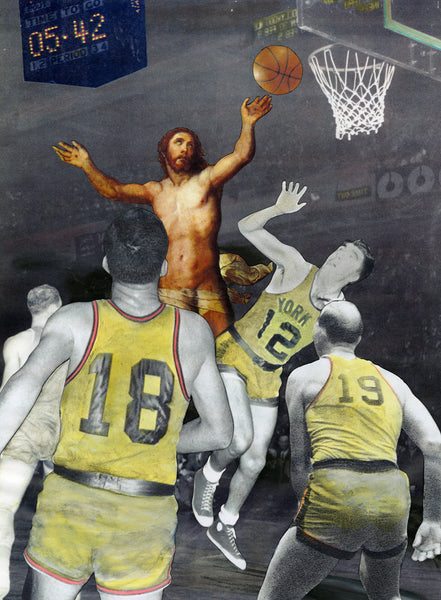 Jesus humor sports basketball religious satire humor art