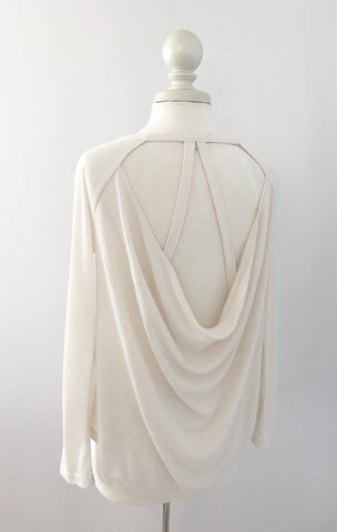 Open Back Long Sleeve Tee in Oatmeal