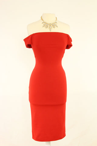 Brigitte Of the Shoulder Dress in Red