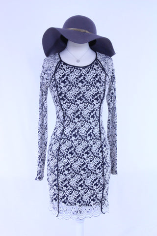 Laced Floral Dress in Navy