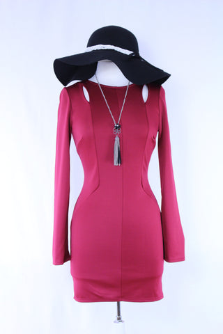 Bodycon Merlot Dress with Shoulder Cutouts