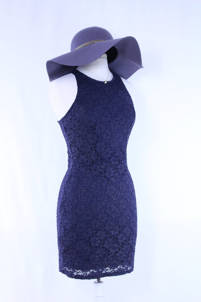 Navy Lace Halter Dress