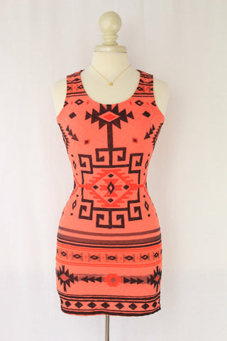 Orange Geometric Print Body Con Dress