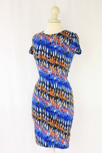 Blue Tie Dye Dress with Back Cutout