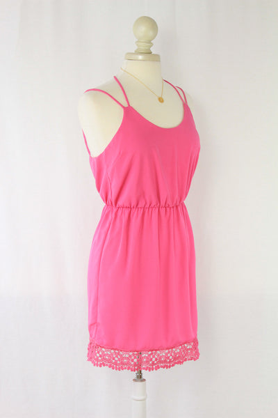 Bubblegum Pink Open Back Dress with Crochet Detail