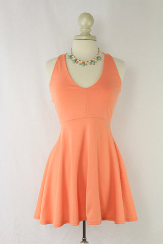 Cross-back Flare Halter Dress in Cantaloupe