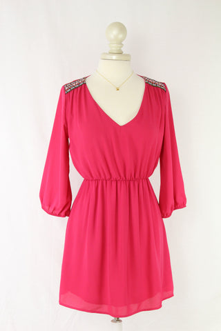 Embroidered Shoulder Dress in Fuchsia