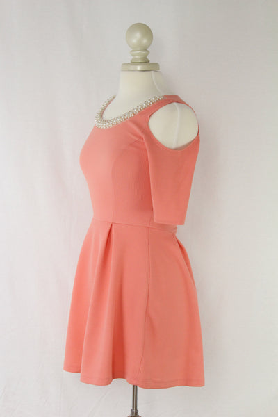 Pearl Pink Dress with Cutout Shoulder