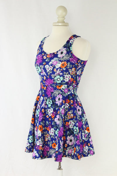 Blue Floral Skater Dress with Open Back