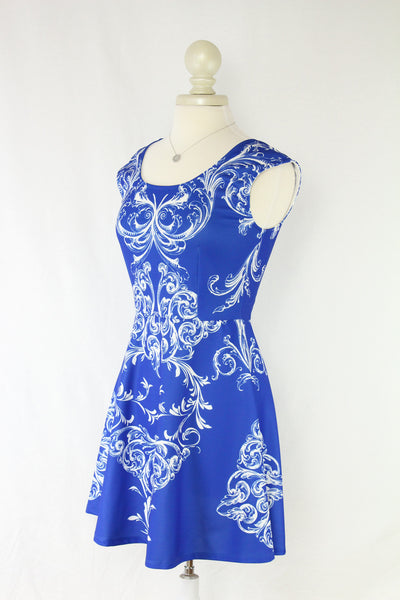 Blue and White Baroque Flare Dress