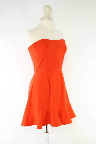 Strapless Party Dress in Tangerine