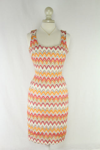 Metallic Laced Chevron Print Dress