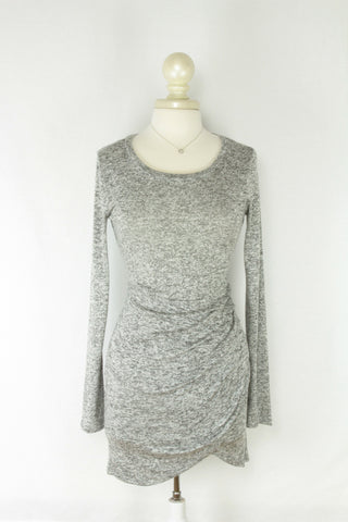 Heathered Gray Sweaterdress with Ruching