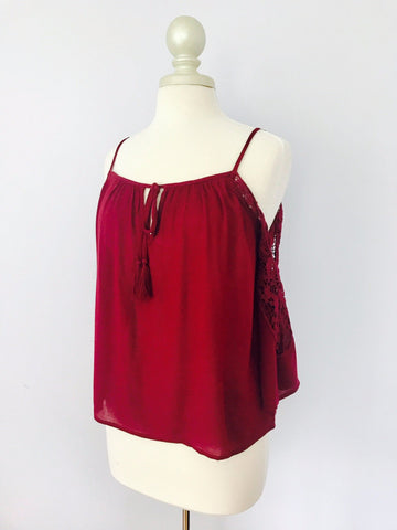 Burgundy Lace Off the Shoulder Blouse