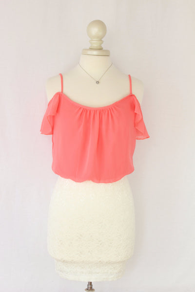 Pink Off-the-Shoulder Flirty Ruffle and Lace Dress